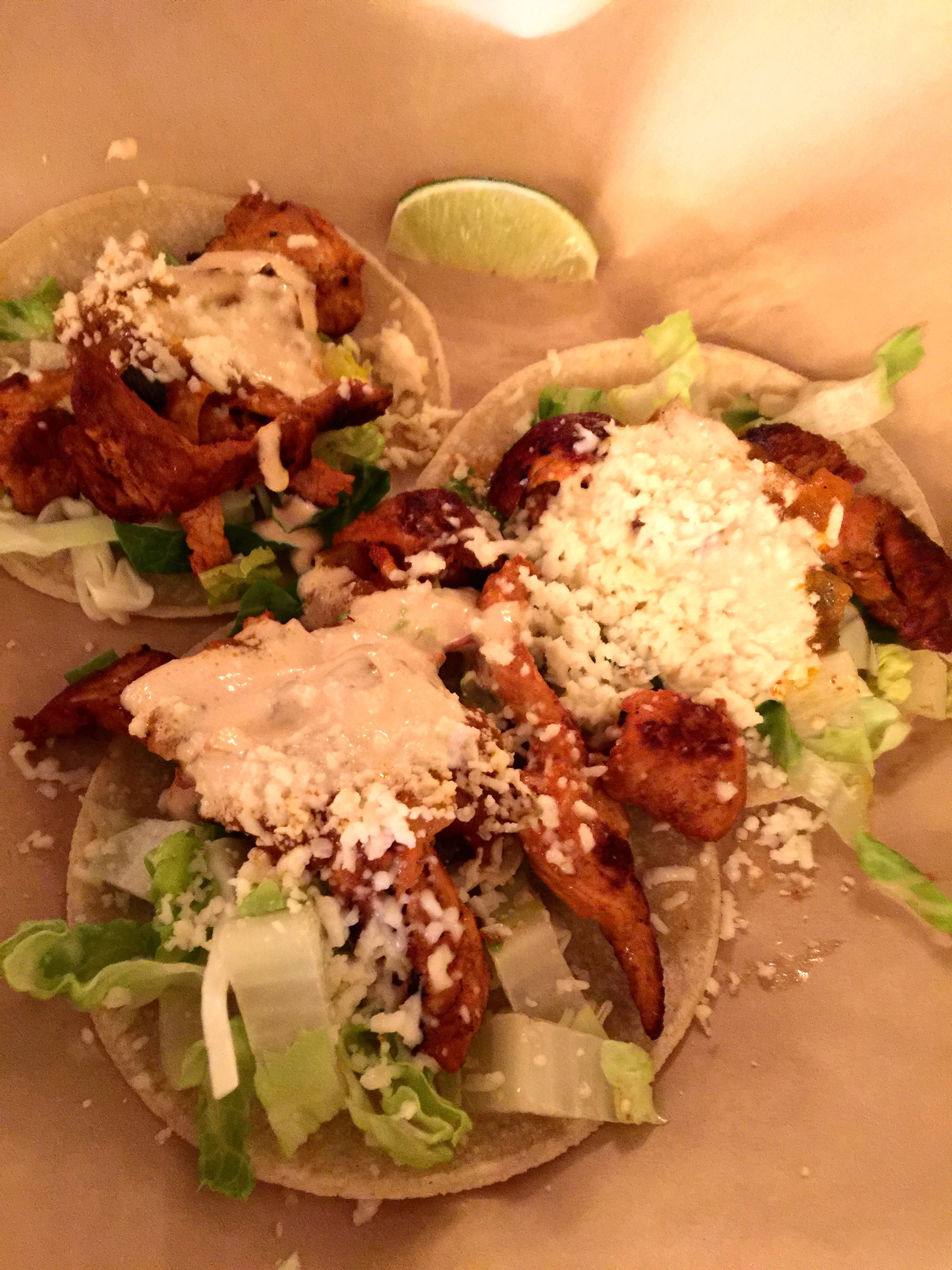 Chicken tacos ($10.95) adobo marinated grilled chicken breast, melted ...